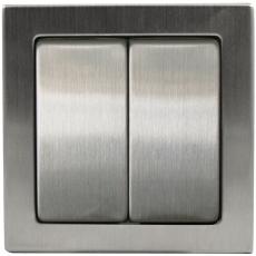 TABLET METAL 双开单控开关-不锈钢