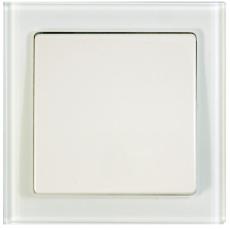 TABLET GLASS 单开双控-玻璃白色外框/白色面板