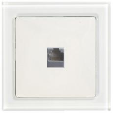 TABLET GLASS SINGLE DATA SOCKET-RJ45 CAT5E-WHITE GLASS FRAME/WHITE PANEL