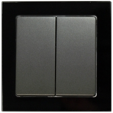 TABLET GLASS 2 GANG 1 WAY SP SWITCH-BLACK GLASS FRAME/ANTHRACITE PANEL