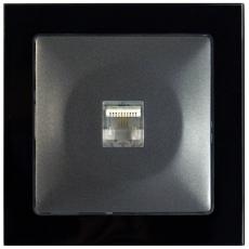TABLET GLASS单孔美式电话插座-玻璃黑色外框/豪华灰色面板