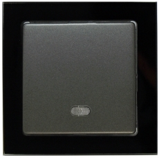 TABLET GLASS 热水器开关带灯20A-玻璃黑色外框/豪华灰色面板