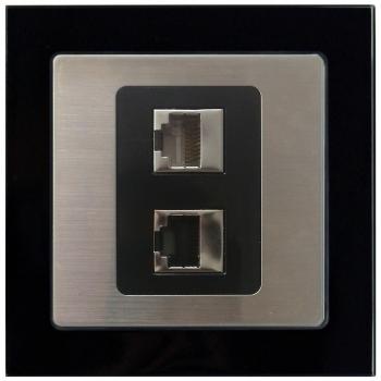 glass双孔网络插座-玻璃黑色外框/不锈钢面板