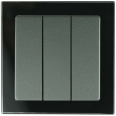 3 GANG 1 WAY SP SWITCH-GLASS Black/Anthracite PANEL-TABLET GLASS