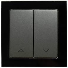 TABLET GLASS 窗帘双开复位带上下控制-玻璃黑色外框/豪华灰色面板