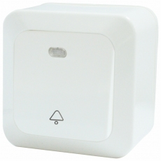 On Wall Doorbell Push Button Switch with Indicator-White-Ultra