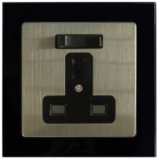 TABLET GLASS 13A 1 Gang Switched DP Socket-BLACK GLASS FRAME/METAL PANEL