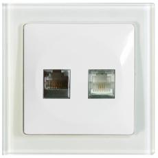 TABLET GLASS TELEPHONE+DATA SOCKET-RJ45 CAT5E-WHITE GLASS FRAME/WHITE PANEL