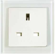TABLET GLASS 1 GANG BS 13A SOCKET UNSWITCHED-WHITE GLASS FRAME/WHITE PANEL