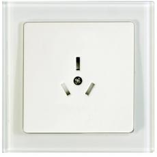 TABLET GLASS中式10A三極插座-玻璃白色外框/白色面板
