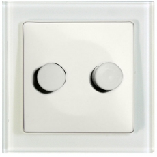 TABLET GLASS DUAL DIMMER-NORMAL LAMP/NORMAL LAMP 300W-WHITE GLASS FRAME/WHITE PANEL