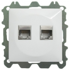 DOUBLE COMPUTER DATA SOCKET WITHOUT FRAME-WHITE-LUX