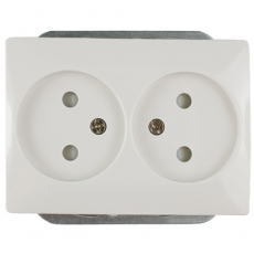 DOUBLE DUTCH  POWER SOCKET WITH CHILD PROTECTOR WITHOUT FRAME-EU-WHITE-LUX