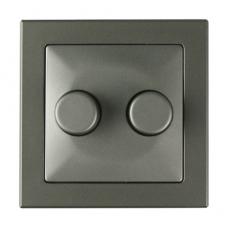 Dual 2 Gang Rotary Dimmer-ALUMINIUM-Tablet