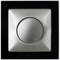 TABLET GLASS 双控卤素电子调光器500W-玻璃黑色外框/不锈钢面板
