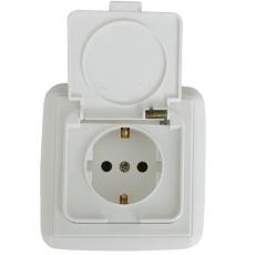 Lotus in-wall waterproof shuko socket-white