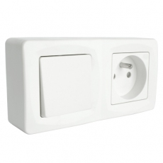 Uniform Single 2-way switch with French socket -Fast Connection-White