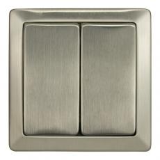 LUX METAL双开单控开关-不锈钢