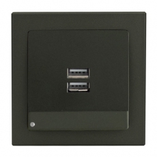 Face Dual USB charging socket with LED-Antracite