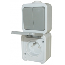 IP44 Waterproof Single 2-way switch with French socket -Grey-Mask