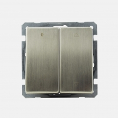 Lux Metal Shutter switch with on/off and up/down without frame- stainless steel