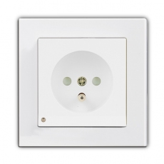 Face Single French Socket with LED-White