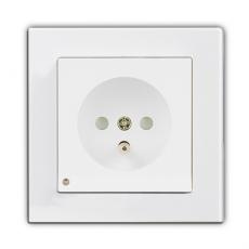 Face Single French Socket with LED-White