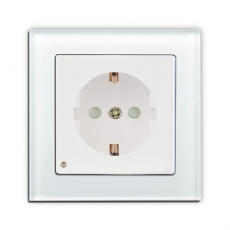 Face Glass Single Schuko Socket with LED-White glass frame