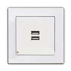 Face USB charging Socket with LED-White