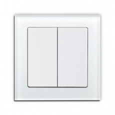 55F - Face Glass Double 2-way Switch,White Glass Frame