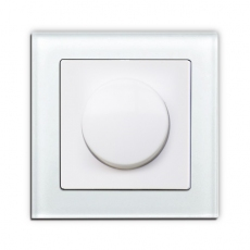 Face Glass RC+LED two way Rotary Dimmer ,white glass frame