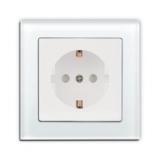 Face Glass Single Schuko Socket-White glass frame