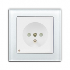 Face Glass Single French Socket with LED-White glass frame