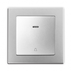 Face doorbell switch with light, 55mm Panel-sliver