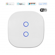 Wintop AI Wi-Fi Smart Light Wall Touch Double Switch Neutral Wire Required eHouse 82Z Design white